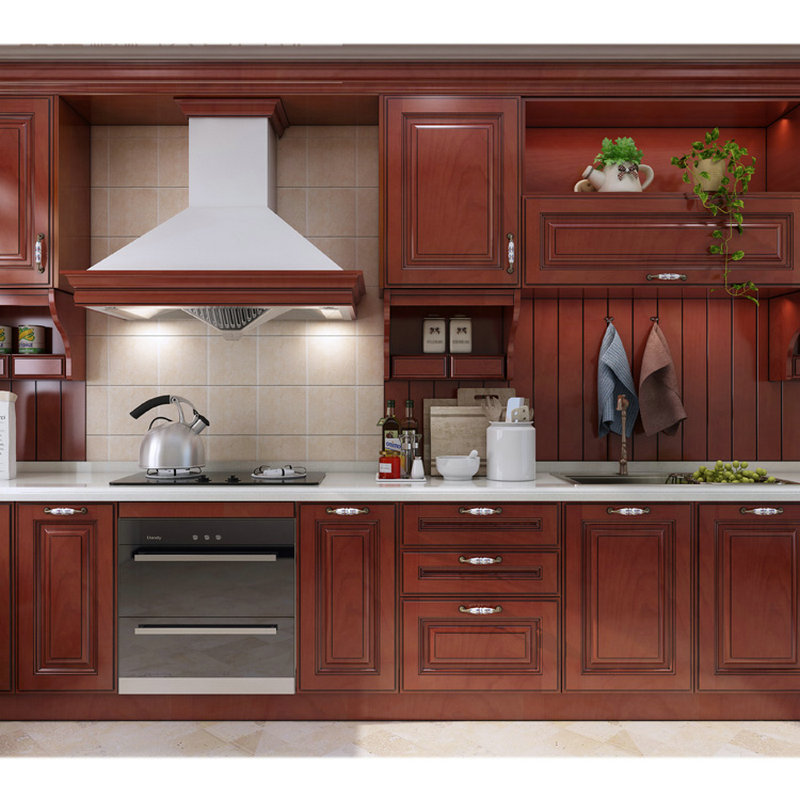 Custom American Wooden Kitchen Cabinets Cherry Color